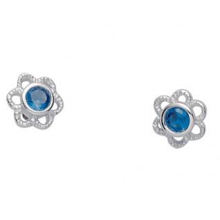 Basic Silber 01.KS133B Mädchen Ohrstecker Blume Silber Zirkonia blau