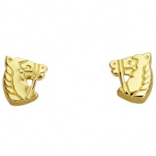 Basic Gold KI42 Mädchen Ohrstecker Pferd 14 Karat (585) Gelbgold