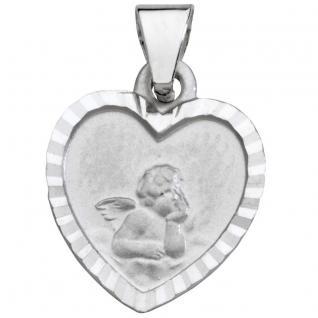 Basic Gold EN14W Kinder Anhänger Herz Schutzengel 14 Karat Weißgold
