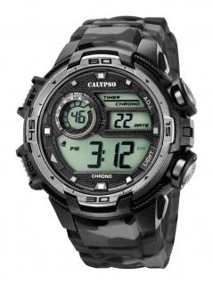Calypso K5723/3 Chrono Uhr Herrenuhr Kunststoff Datum Alarm grau