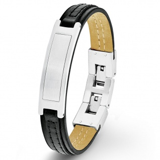 s.Oliver 9025503 Herren Armband Edelstahl Silber Schwarz 22 cm