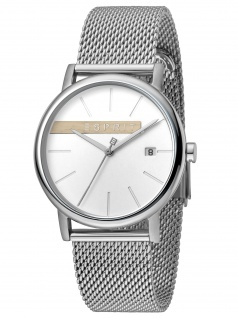 Esprit ES1G047M0045 Timber Silver Mesh Damenuhr Edelstahl Datum Silber