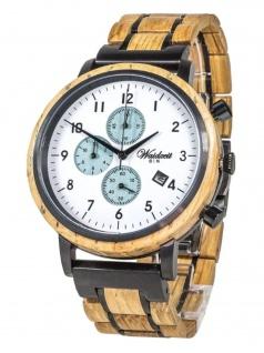 Waidzeit GI01 Gin Ice Chronograph Uhr Herrenuhr Holz Datum braun