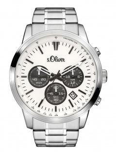 s.Oliver SO-3334-MC Chronograph Uhr Herrenuhr Edelstahl Datum Silber
