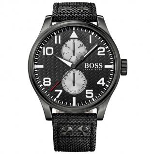 Hugo Boss 1513086 Uhr Herrenuhr Lederarmband Datum schwarz