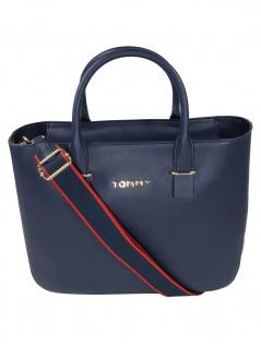 Tommy Hilfiger Damen Handtasche Tasche Tommy Staple Satchel Blau