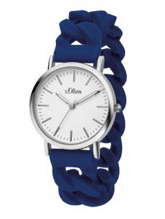 s.Oliver SO-3261-PQ Uhr Damenuhr Silikon Blau