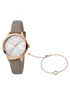 Esprit ES1L259L0045 Pointy SET Uhr Damenuhr Lederarmband grau