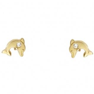 Basic Gold KI13 Mädchen Ohrstecker Delfin 14 Karat (585) Gelbgold Weiß
