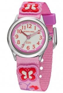 JACQUES FAREL HCC3132 Schmetterling Uhr Mädchen Kinderuhr Textil rosa