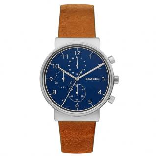 Skagen SKW6358 ANCHER Chronograph Uhr Herrenuhr Lederarmband Braun