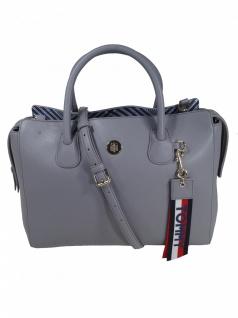 Tommy Hilfiger Damen Handtasche Tasche Charming Tommy Satchel Grau