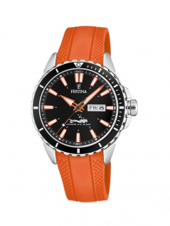 FESTINA F20378/5 Uhr Herrenuhr Kautschuk Datum Orange