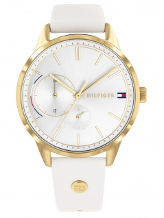 Tommy Hilfiger 1782018 BROKE Uhr Damenuhr Lederarmband Datum Weiß