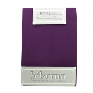 Biberna Jersey Elastic Spannbetttuch Violett 140 x 200 - 160 x 220