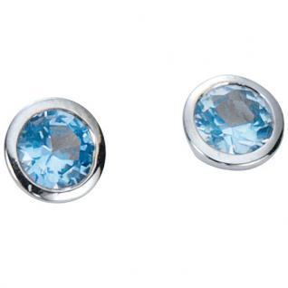 Basic Silber 01.1098HB Damen Ohrstecker Silber Zirkonia hellblau