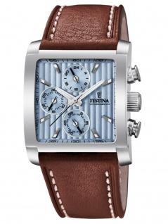 FESTINA F20424/1 Chronograph Uhr Herrenuhr Lederarmband Chrono Braun