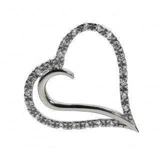 Basic Silber 21.0012S Damen Anhänger Herz Silber Zirkonia weiß