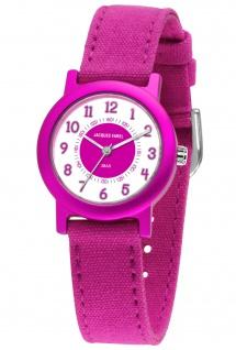 JACQUES FAREL ORG812 Ökokinderuhr Uhr Mädchen Kinderuhr Textil pink