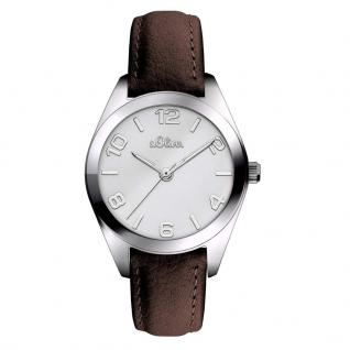 s.Oliver SO-3371-LQ Uhr Damenuhr Lederarmband Braun