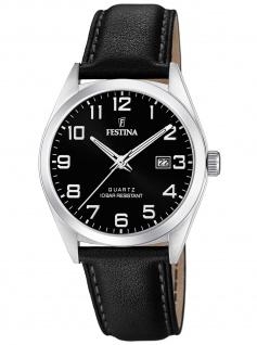 Festina F20446/3 Uhr Herrenuhr Lederarmband Datum schwarz
