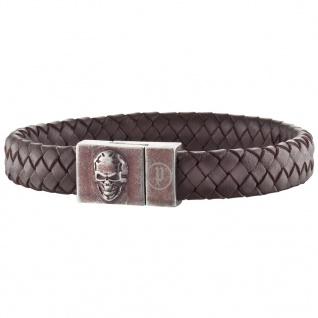 POLICE Herren Armband ETERNAL Edelstahl Leder braun 22, 5 cm