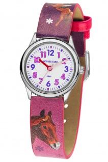 JACQUES FAREL HCC543 Pferd Uhr Mädchen Kinderuhr Lederarmband rosa