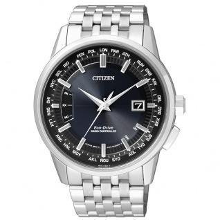 Citizen Elegant Funkuhr Uhr Herrenuhr Edelstahl Datum blau