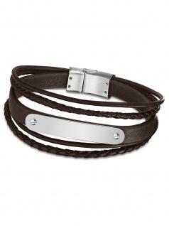 LOTUS LS2046-2-1 Herren Armband Edelstahl Silber Braun 21, 5 cm