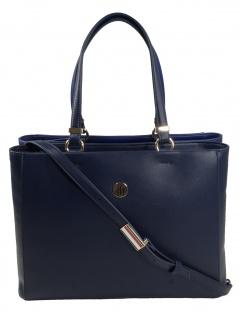 Tommy Hilfiger Damen Handtasche Tasche TH Smooth Tomy Satchel Blau