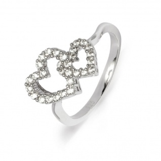 gooix 943-05377-52 Damen Ring Herzen Silber Weiß 52 (16.6)
