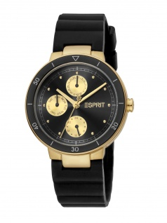 Esprit ES1L226P0075 Yumi Uhr Damenuhr Kautschuk Datum schwarz