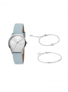 Esprit ES1L092L0015 Blite Silver Blue Set Uhr Damenuhr Leder Blau