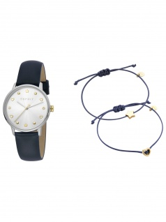 Esprit ES1L174L0025 Set Uhr Damenuhr Lederarmband Blau