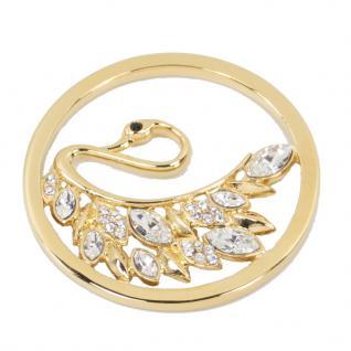 Quoins QMOK-26L-G-CC Damen Anhänger Swan Tale Edelstahl Gold Weiß