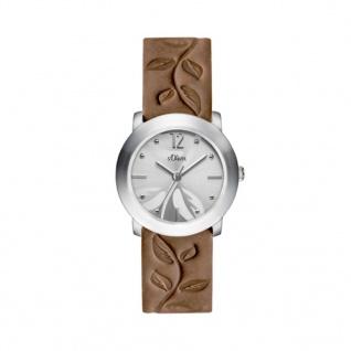 s.Oliver SO-3316-LQ Uhr Damenuhr Lederarmband Grau