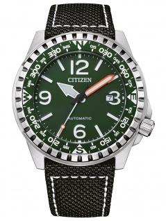 Citizen NJ2198-16X Mechanisch Uhr Herrenuhr Lederarmband Datum schwarz