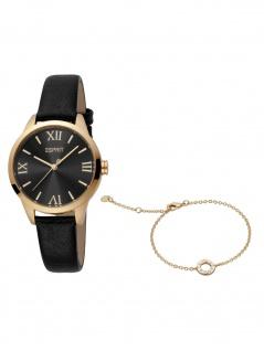 Esprit ES1L259L0035 Pointy SET Uhr Damenuhr Lederarmband schwarz