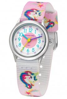 JACQUES FAREL HCC042 Einhorn Uhr Mädchen Kinderuhr Lederarmband rosa