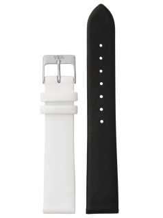 laVIIDA Uhrenarmband LB-SVI2005S Ersatzband Leder 18 mm Schwarz-Weiß