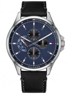 Tommy Hilfiger 1791616 SHAWN Uhr Herrenuhr Lederarmband Datum Schwarz