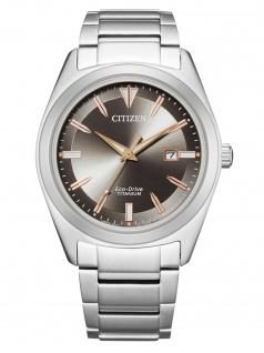 Citizen AW1640-83H Eco Drive Uhr Herrenuhr Titan Datum silber