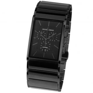 Jacques Lemans 1-1941C Chronograph Uhr Herrenuhr Keramik Datum Schwarz