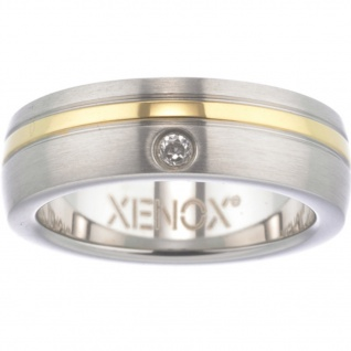 XENOX X1681-54 Damen Ring XENOX & friends Bicolor Gold Weiß 54 (17.2)