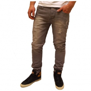 Authentic Style Herren Jeans Hose Slim Fit 5 Pocket Grau Gr. 34W / 34L