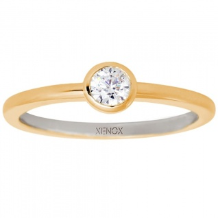 XENOX XS7279G Damen Ring Silver Circle gold Gold weiß 54 (17.2)