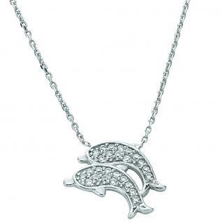 Basic Silber 11.EX105 Damen Collier Delfine Silber weiß 42, 5 cm
