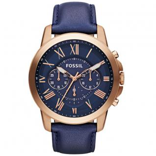 Fossil FS4835 GRANT Chronograph Uhr Herrenuhr Lederarmband blau rosé