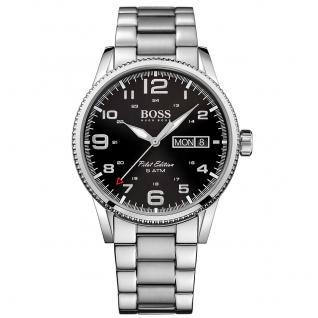 Hugo Boss Pilot Uhr Herrenuhr Edelstahl Datum schwarz