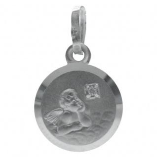Basic Silber STG07 Kinder Anhänger Schutzengel Silber Zirkonia Weiß